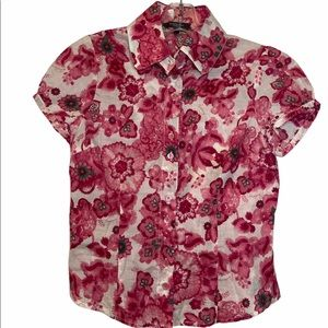 Girls Red Floral Button Down Top